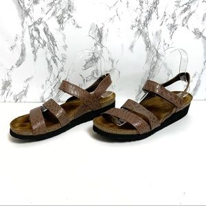 NAOT Kayla Alligator Embossed Strappy Sandal 39/8
